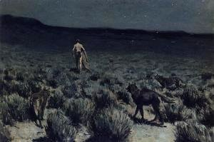 Frederic Remington - The Wolves Sniffed Along on the Trail, but Came No Closer