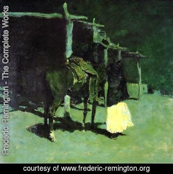 Frederic Remington - Waiting in the Moonlight