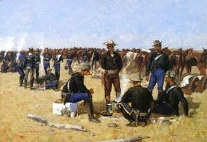 Frederic Remington - A Cavalryman's Breakfast on the Plains