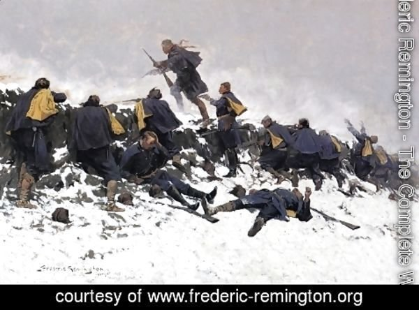 Frederic Remington - Through the Smoke Sprang the Daring Soldier