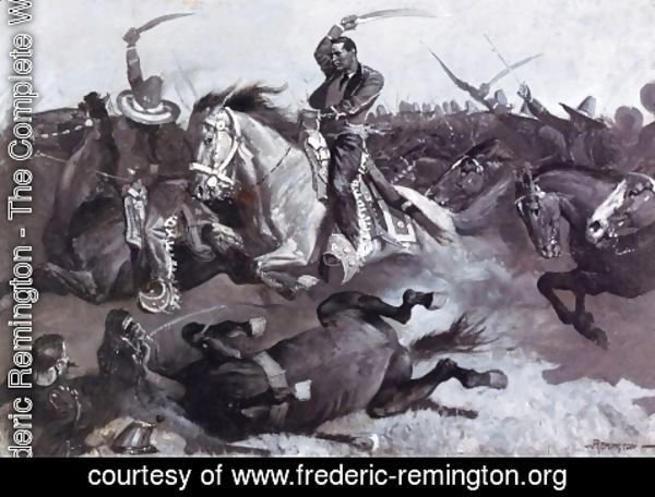 Frederic Remington - Down go Horses and Men