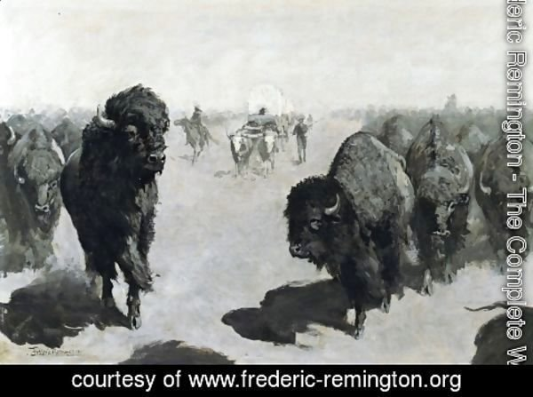 Frederic Remington - Lane through the Buffalo Herd