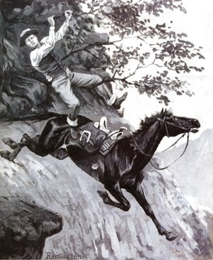 Frederic Remington - Tom Kicked Away the Stirrups and Grasped the Low Branch of a Live Oak Tree