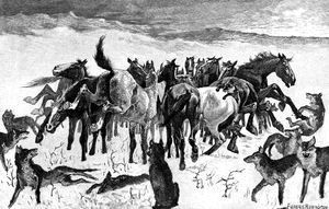 Frederic Remington - Broncos and Timber Wolves