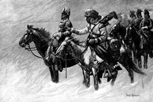Canadian Mounted Police on a Winter Expedition