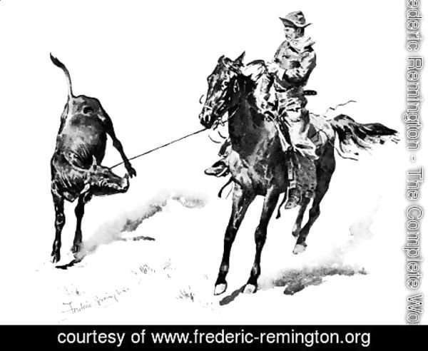 Frederic Remington - Cowboy Leading Calf