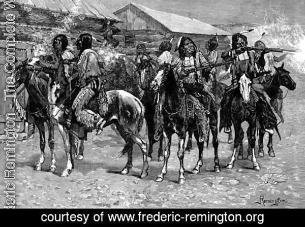 Frederic Remington - Crow Indians Firing into the Agency