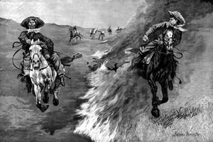 Frederic Remington - Dragging a Bull's Hide over a Prairie Fire in Northern Texas