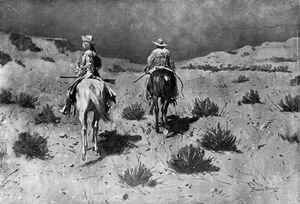 Frederic Remington - Government Scouts-Moonlight