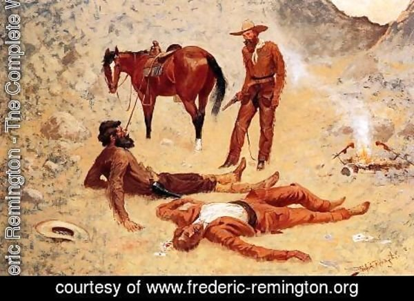 Frederic Remington - He Lay Where He Had Been Jerked, Still as a Log (aka Jerked Down)