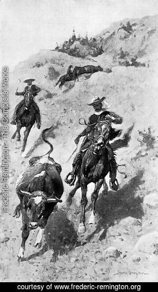 Frederic Remington - Heading a Steer on the Foothills