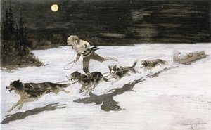 Frederic Remington - Huskie Dogs on the Frozen Highway (aka Talking Musquash)