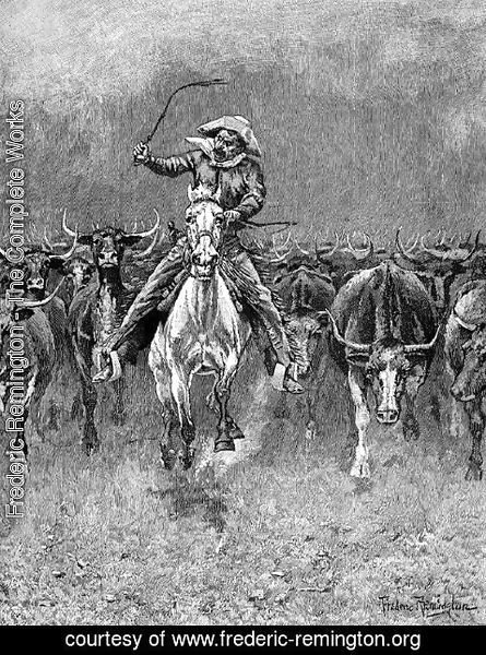 Frederic Remington - In a Stampede