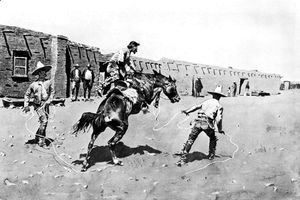 Frederic Remington - Mexican Vaqueros Breaking a 'Bonc'