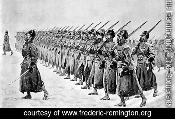 Frederic Remington - Miles's Army at Pine Ridge-The Infantry
