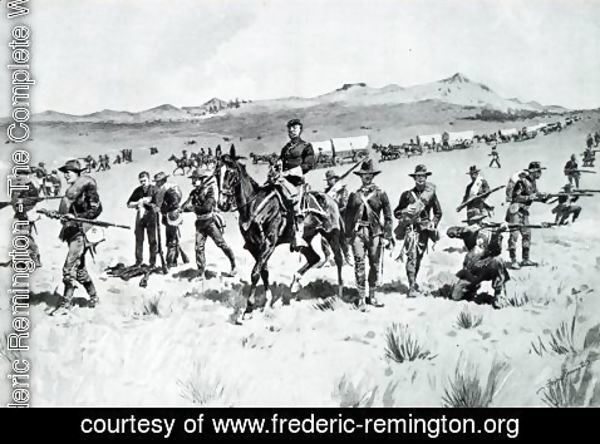 Frederic Remington - Protecting a Wagon Train