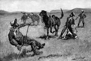 Frederic Remington - Teaching a Mustang Pony to Pack Dead Game