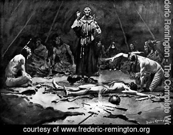 Frederic Remington - The Missionary and the Medicine Man
