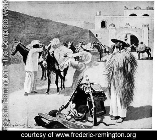 Frederic Remington - We Packed Our Mules in the Corral of the Hotel