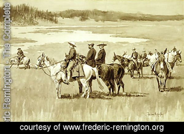 Burgess Finding a Ford (illustration from Frederic Remington's Pony Tracks 1895)