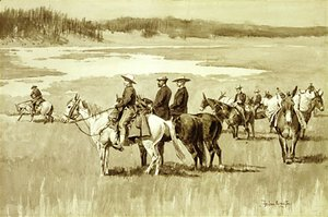 Frederic Remington - Burgess Finding a Ford (illustration from Frederic Remington's Pony Tracks 1895)