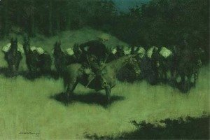 Frederic Remington - Scare in a Pack Train