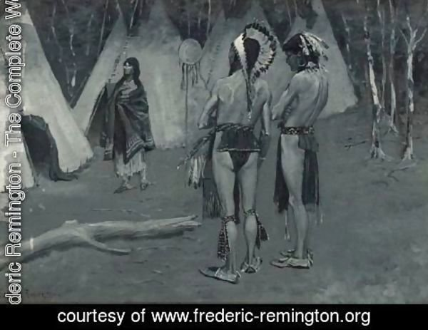 Frederic Remington - And Her Lovers, The Rejected, ...Handsome Men With Paint And Feathers
