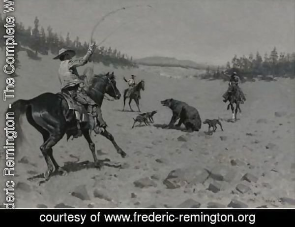 Frederic Remington - The Bear At Bay (Roping A Grizzly)