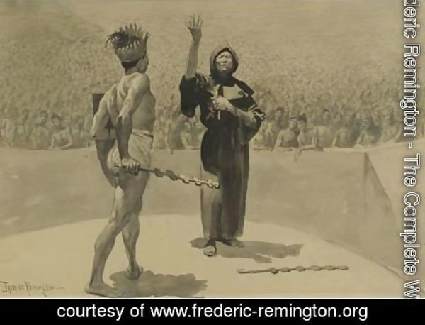 Frederic Remington - His Huge Antagonist Was Held Still By A Wonder That Was Born Half Of Admiration And Half Of Awe