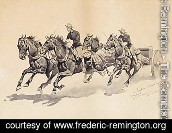 Team of calvary horses pulling a caisson