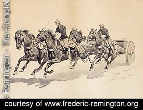 Frederic Remington - Team of calvary horses pulling a caisson
