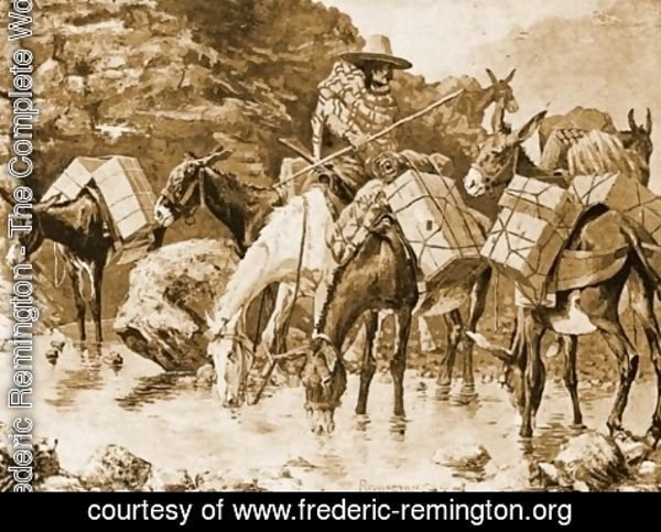 Frederic Remington - Mule Train Crossing the Sierras