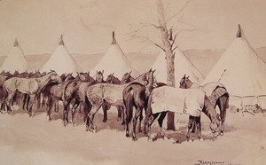 Frederic Remington - A Troop Picket Line Of The Sixth United States Cavalry Camp At Rapid Creek