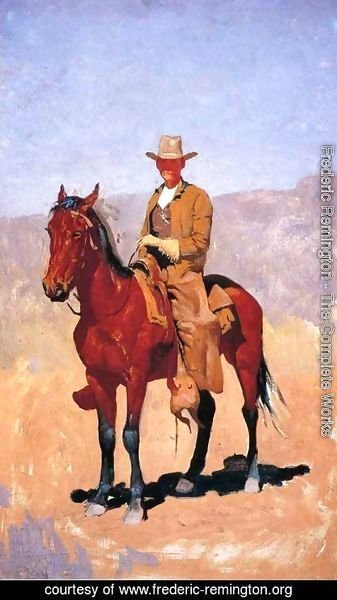 Frederic Remington - Mounted Cowboy In Chaps With Race Horse
