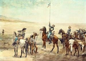 Frederic Remington - Signaling The Main Command