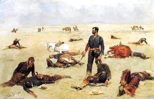 Frederic Remington - The Trooper What An Unbranded Cos Has Cost