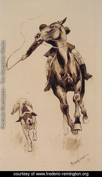 Frederic Remington - Whipping In A Straggler